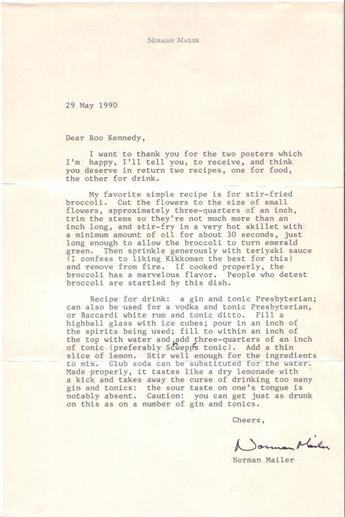 MAILER, NORMAN. Typed Letter Signed, to Rod Kennedy, sending recipes for stir-fried broccoli and tonic Presbyterian.