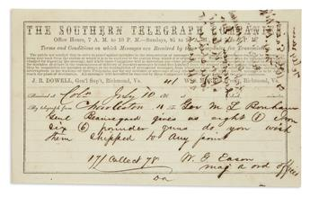 (CIVIL WAR--CONFEDERATE.) Eason, William G. Telegraph message on the deployment of Confederate artillery on the eve of Fort Wagner.