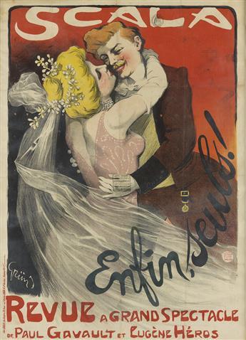 JULES-ALEXANDRE GRÜN (1868-1938). SCALA / ENFIN, SEULS! 1901. 33x24 inches, 85x61 cm. Chaix, Paris.