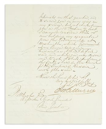 (CIVIL WAR--CONFEDERATE--DIPLOMACY.) Murrell, Joseph E. Letter offering to continue as Russian vice-consul in Mobile after secession.