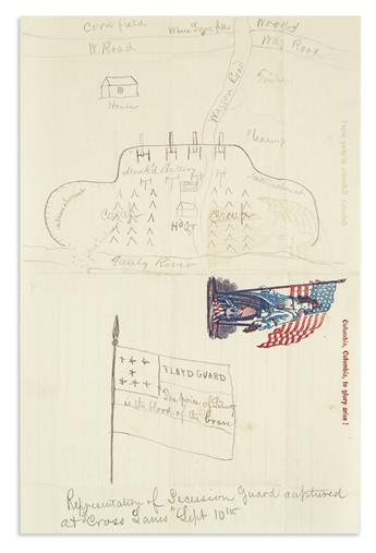 (CIVIL WAR--WEST VIRGINIA.) Manuscript map of the Battle of Carnifex Ferry, with a drawing of General Floyd's captured banner.