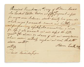 (SLAVERY AND ABOLITION.) Two letters and a receipt relating to a West Virginians acquisition of enslaved people.