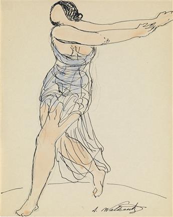 ABRAHAM WALKOWITZ Three watercolors of Isadora Duncan.