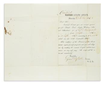 (CIVIL WAR--CONFEDERATE.) Group of correspondence of the Western Lunatic Asylum in Virginia.
