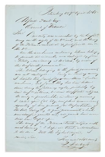 (CIVIL WAR--CONFEDERATE--DIPLOMACY.) De Voss, P.J. Letter describing the fall and occupation of Petersburg for the French consul.