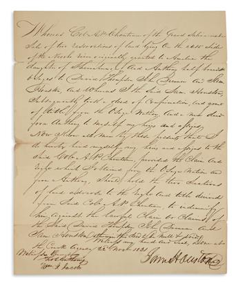 SAMUEL HOUSTON. Document Signed, SamHouston, bond governing the transfer from Auguste Pierre Chouteau to Houst...