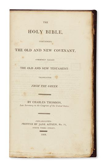 (BIBLE IN ENGLISH.) Thomson, Charles; translator. The Holy Bible, Containing the Old and New Covenant.