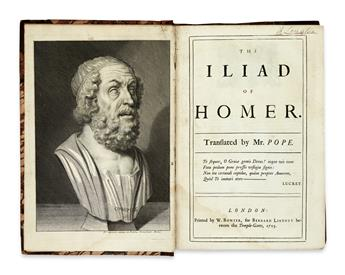 HOMER. The Iliad . . . Translated by Mr. Pope.  6 vols. in 3.  1715-20.  Lacks map and plate. With receipt signed by Pope.