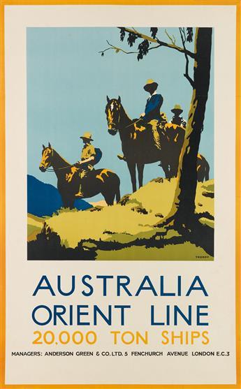 PERCIVAL (PERCY) ALBERT TROMPF (1902-1964). AUSTRALIA ORIENT LINE / 20,000 TON SHIPS. 40x25 inches, 101x64 cm.