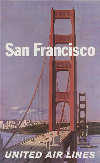 STAN GALLI (1912-2009). SAN FRANCISCO / UNITED AIR LINES. 40x24 inches, 102x63 cm.