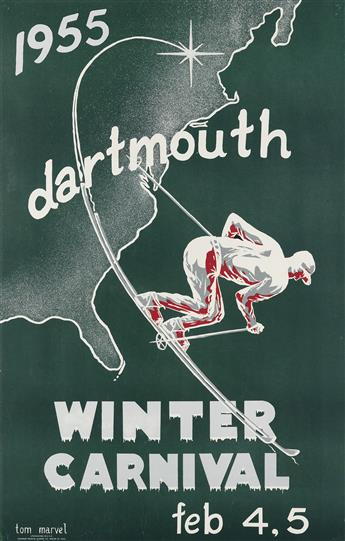 TOM MARVEL (DATES UNKNOWN). DARTMOUTH WINTER CARNIVAL. 1955. 34x22 inches, 87x56 cm. Winthrop Printing & Offset Co., Boston.