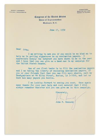 KENNEDY, JOHN F. Typed Letter Signed, John Kennedy, as Representative,