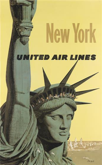 STAN GALLI (1912-2009). NEW YORK / UNITED AIR LINES. Circa 1960. 40x25 inches, 103x65 cm.