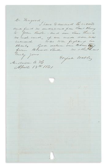 (CIVIL WAR--CONFEDERATE.) Webb, Elijah. Letter written from South Carolina during the Battle of Fort Sumter.