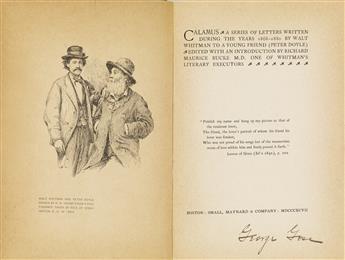 WALT WHITMAN (1819-1892)  Group of 5 volumes featuring Calamus.