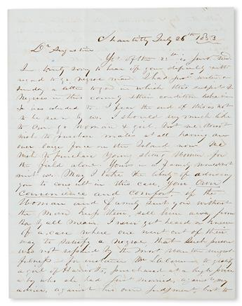 (SLAVERY AND ABOLITION--MOUNT VERNON.) [WASHINGTON, JOHN AUGUSTINE.] Autograph Letter Signed from Mr. L. T. Stuart to George Washington