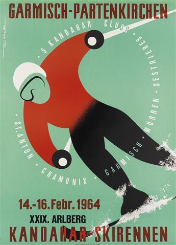 SIGNATURE UNKNOWN. KANDAHAR SKIRENNEN / GARMISCH - PARTENKIRCHEN. 1964. 33x24 inches, 84x61 cm. Eckert GMBH u. Co., Augsburg.
