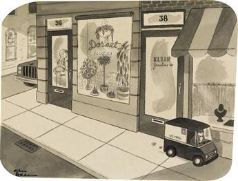 CHARLES ADDAMS. (THE NEW YORKER / CARTOON) Mini Mail Truck.