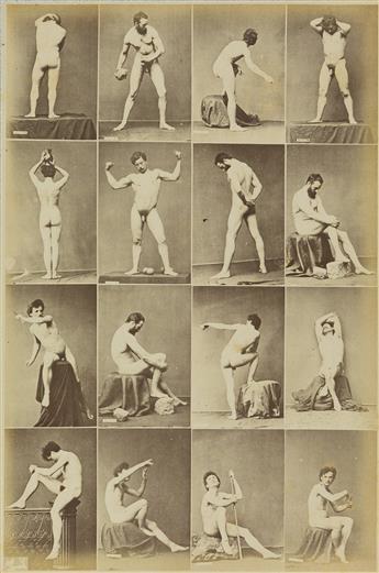 LOUIS JEAN-BAPTISTE IGOUT (1837-1881)  Suite of six composite photographs, each featuring 12 images of classical male nude studies.