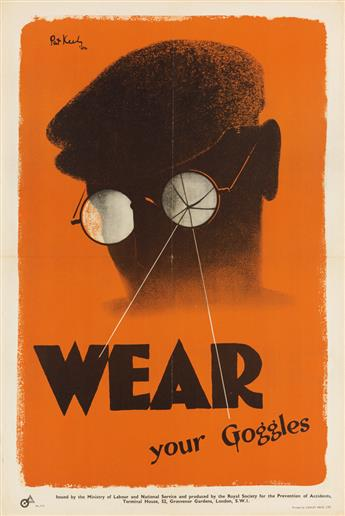 PATRICK COKAYNE KEELY (1901-1970). WEAR YOUR GOGGLES / ACCIDENTS ARE BOTTLENECKS. Double-sided poster. 1942. 29x19 inches, 75x50 cm. Lo