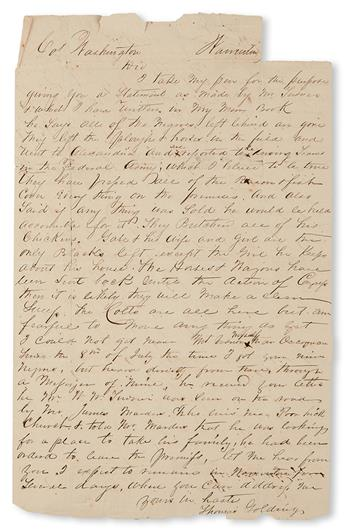 "(SLAVERY AND ABOLITION---MOUNT VERNON.) GOLDING, THOMAS. Letter addressed to ""Col. Washington. . . yours in haste."""