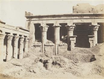 FÉLIX TEYNARD (1817-1892) Edfou, Galerie latérale de la cour et pronaos * Erment, Vue générale des ruines - Temple et mammisi.