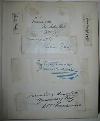 (ALBUM.) Autograph album containing over 25 items Signed, or Signed and Inscribed, by 19th-century Britons,