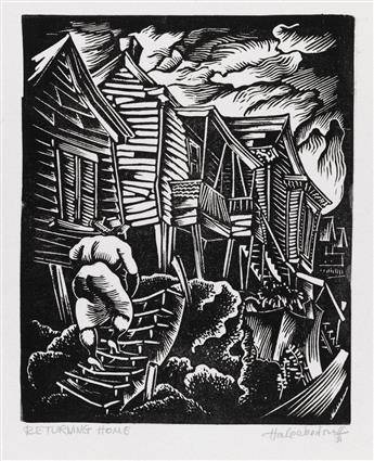 HALE WOODRUFF (1900 - 1980) Pair of linoleum cuts.