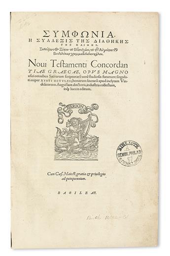 BIBLE CONCORDANCE.  Birck, Sixt. Novi Testamenti concordantiae Graecae.  1546