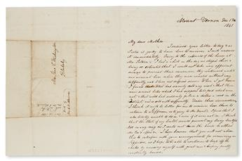 (SLAVERY AND ABOLITION--MOUNT VERNON.) WASHINGTON, JOHN AUGUSTINE. An excellent letter from John Washington to his mother, mentioning h