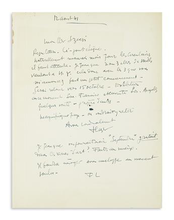 LÉGER, FERNAND. Autograph Letter Signed, twice (FLeger and FL), to My Dear Szecsi [art dealer Ladislas Szecsi?], in French,