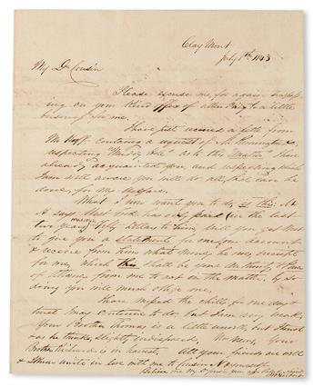(SLAVERY AND ABOLITION--MOUNT VERNON.) WASHINGTON, JOHN AUGUSTINE. Letter from Cousin B. W. Herbert at Clay Mont to Cousin John Augusti