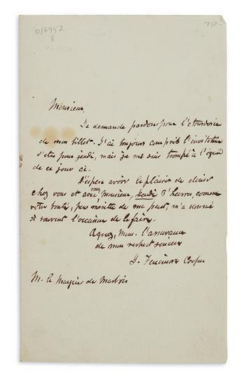 COOPER, JAMES FENIMORE. Autograph Letter Signed, J. Fenimore Cooper, to François Barbé-Marbois (Marquis de Marbois), in French,