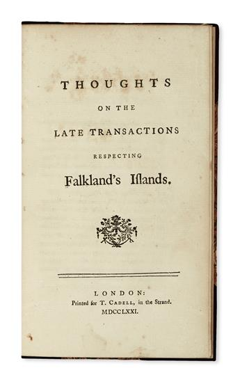 JOHNSON, SAMUEL.  Thoughts on the Late Transactions respecting Falklands Islands.  1771