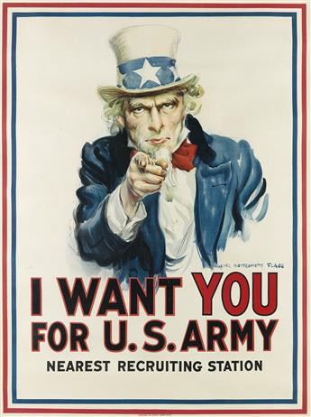 JAMES MONTGOMERY FLAGG (1870-1960). I WANT YOU FOR U.S. ARMY. 1917. 40x29 inches, 103x75 cm. Leslie-Judge Co., New York.