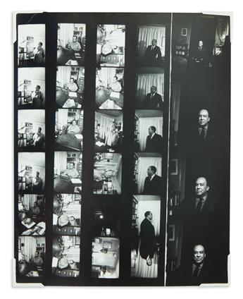 (LITERATURE.) Draper, Louis H.; photographer. Contact sheet with 28 positive images of Langston Hughes in his office.