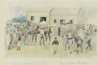 THOMAS WORTH You Pulled the Horse, A Country Race Track.
