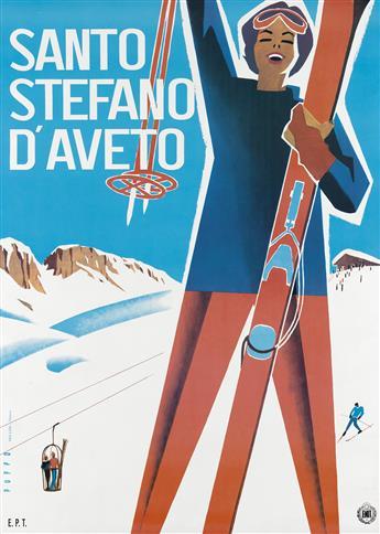 MARIO PUPPO (1905-1977). SANTO STEFANO DAVETO. 1955. 38x27 inches, 96x68 cm. Sigla Effe, Genova.