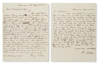(SLAVERY AND ABOLITION--MOUNT VERNON.) [WASHINGTON, JOHN AUGUSTINE.] Letter from Henry Hill, noted slave dealer regarding Washingtons