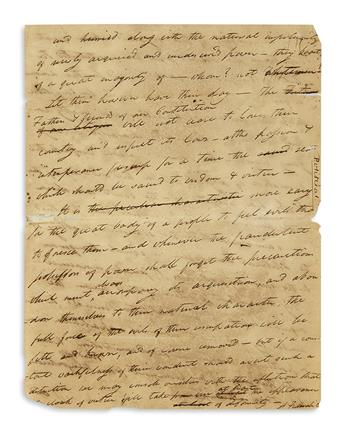 WEBSTER, NOAH. Autograph Manuscript Signed, A Federalist, complete draft of a possibly unpublished open letter on opposition to the C