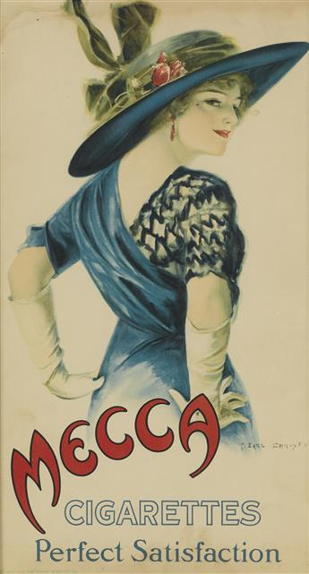 F. EARL CHRISTY (1882-1961). MECCA CIGARETTES / PERFECT SATISFACTION. 1912. 17x9 inches, 44x24 cm. The American Tobacco Co.