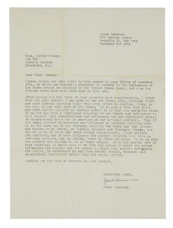 LAWRENCE, JACOB. Typed Letter Signed, to Esther Krasny (Dear Miss Krasny),