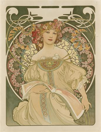 ALPHONSE MUCHA (1860-1939). [RÊVERIE.] 1897. 28x21 inches, 72x54 cm. [F. Champenois, Paris.]