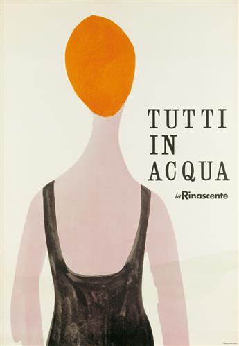 LORA LAMM (1928- ). TUTTI IN ACQUA / LA RINASCENTE. 1955. 39x26 inches, 99x68 cm. Riboldi, Milan.
