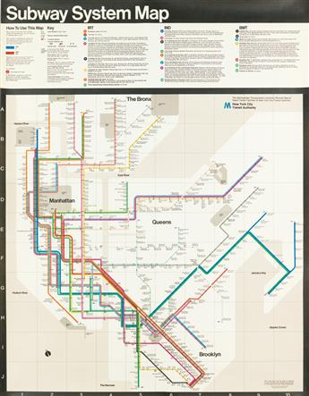 MASSIMO VIGNELLI (1931-2014). SUBWAY SYSTEM MAP. 1978. 58x45 inches, 149x116 cm. New York City Transit Authority, New York.