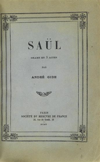 ANDRE GIDE (1869-1951)  Saül, Drame en 5 Actes [with:] LImmoraliste.
