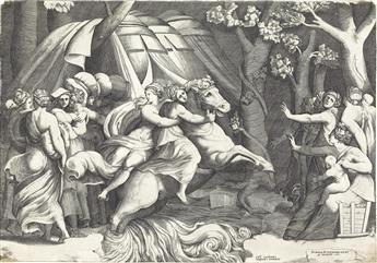 GIULIO BONASONE (after Polidoro da Caravaggio) Cloelia Crossing the Tiber