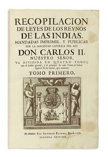 (LAW.) Recopilacion de leyes de los Reynos de las Indias.