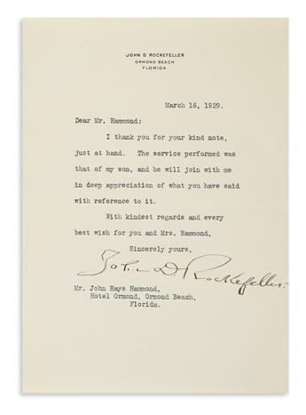 ROCKEFELLER, JOHN D. Typed Letter Signed, to John Hays Hammond,