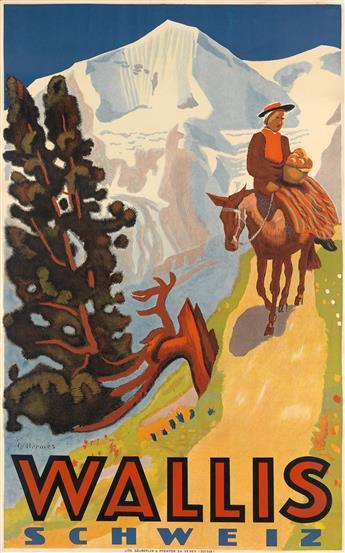 ERICH HERMÈS (1888-1971). WALLIS SCHWEIZ. 1939. 39x24 inches, 99x62 cm. Säuberlin & Pfeiffer, Vevey.
